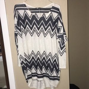 Sweaters - Navy blue and white light sweater